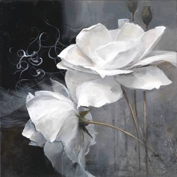 WH 010410- 009 by artist Willem Haenraets. Giclee prints, art prints, posters, a floral; two white flowers; from an original  painting