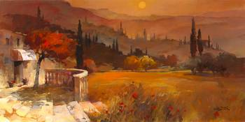 WH Toscane by artist Willem Haenraets. Giclee prints, art prints, posters, a landscape in Tuscany, Toscane sunset; from an original  painting