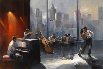 Tango with view by artist Willem Haenraets. Giclee prints, art prints, posters, urban art, a couple dancing the Tango, a band, a view of a city skyline; from an original  painting