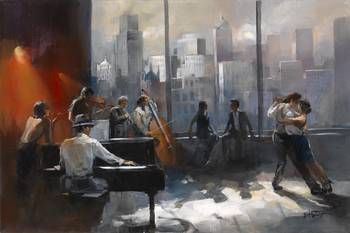 Tango with view 2 by artist Willem Haenraets. Giclee prints, art prints, posters, urban art, a couple dancing the Tango, a band, a view of a city skyline; from an original  painting