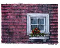 Window with planter : Red shingled wall