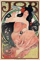 Woman smoking by Mucha