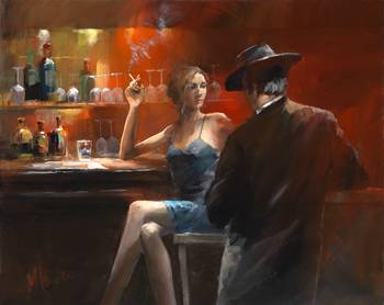 Bar2 by artist Willem Haenraets. Giclee prints, art prints, posters, urban art, a man and a woman in a bar; from an original  painting