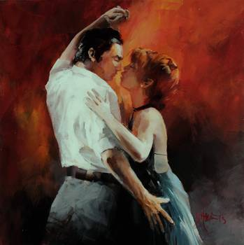 Tango passion 4 by artist Willem Haenraets. Giclee prints, art prints, posters, a man and a woman dancing the Tango; from an original  painting