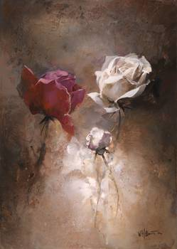 Rose 1 by artist Willem Haenraets. Giclee prints, art prints, posters, a floral, three roses, two white roses, one red rose; from an original  painting