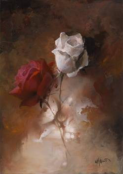 poppies by artist Willem Haenraets. Giclee prints, art prints, posters, a floral, red and white roses; from an original  painting