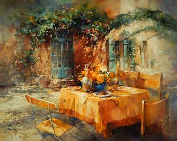 W H Terrace by artist Willem Haenraets. Giclee prints, art prints, posters, landscape, alfresco, romantic table setting, courtyard; from an original  painting
