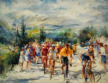 W H. Tour de France, Montventoux by artist Willem Haenraets. Giclee prints, art prints, posters, a bicycle race, the.Tour de France in Montventoux; from an original  painting