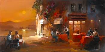 Dinner for two 2 by artist Willem Haenraets. Giclee prints, art prints, posters, a sunset scene, dining alfresco; from an original  painting