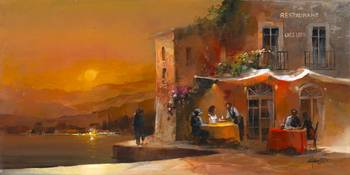 Dinner for two 1 by artist Willem Haenraets. Giclee prints, art prints, posters, a sunset scene, dining alfresco; from an original  painting