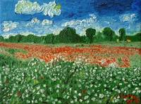Country field with flowers