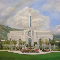 """Mount Timpanogos Temple in Clouds"" by SeiterArt"