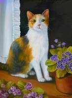 Calico cat with Flowers