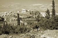 Athenian Acropolis from Philopappou Hill, 1960Gold by Priscilla Turner