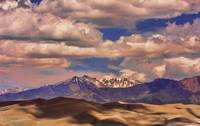 Sand Dunes - Mountains - Snow- Clouds and Shadows