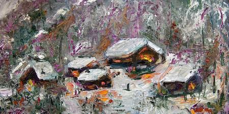Cabins in The Snow Oil painting by Ginette