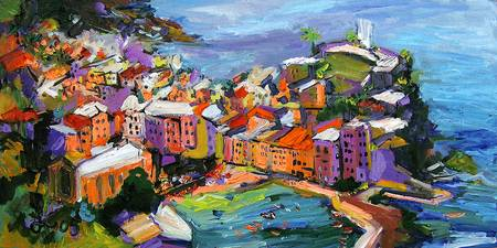 Vernazza Cinque Terre Italy Oil Painting by Ginett