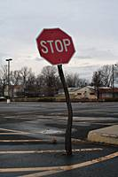 Crooked stop sign, Terre Haute, IN