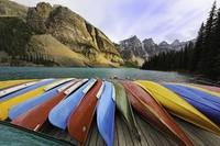 Colorful Boats on a Dock, Moraine Lake