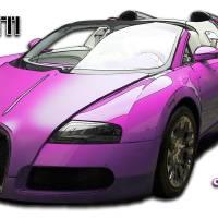 Bugatti Veyron pink centenaire Art Prints & Posters by Carlos de Paz
