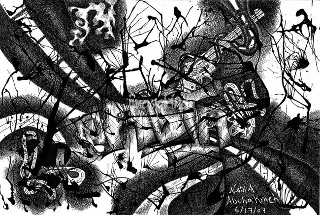 Destruction Pen and Ink Abstract Drawing