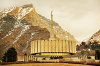 Provo temple warm winter light texture