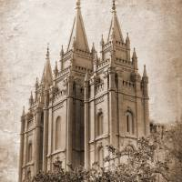 """Salt lake temple HDR with texture sepia"" by houstonryan"