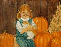 Girl with Kitten and Pumpkins Painting
