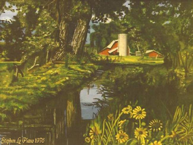 Farm by Stream With Flowers