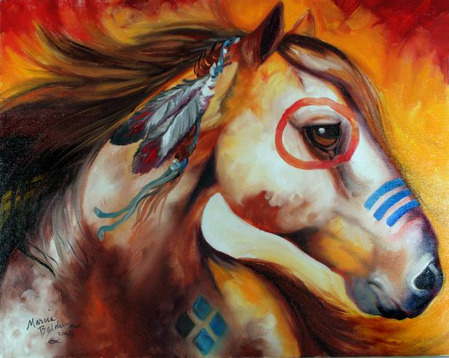 WINDFIRE WARRIOR INDIAN PONY M BALDWIN ORIG OIL 20