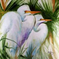 WHITE EGRET PAIR ABSTRACT M BALDWIN ORIG OIL 2020 by Marcia Baldwin