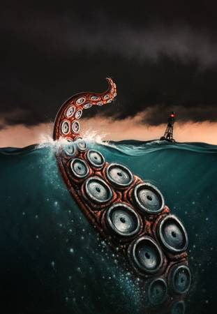 Beast by artist Jerry LoFaro. Giclee prints, art prints, posters, cover art for the book Beast by Peter Benchley; from an original  painting of a giant squid's tentacle