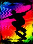 Skateboarding on Rainbow Grunge Background