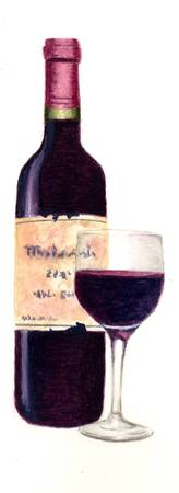 Bottle of Wine with one glass