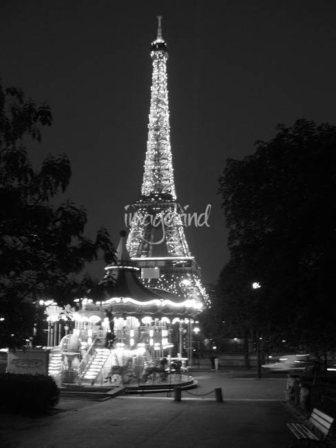 Black and White Eiffel Tower at Night. by matthewwellis