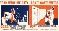 Wartime Duty, Don't Waste Water Poster