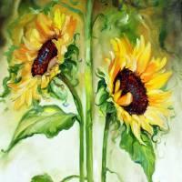 """TRIPLE SUNNY SUNFLOWERS"" by MBaldwinFineArt2006"