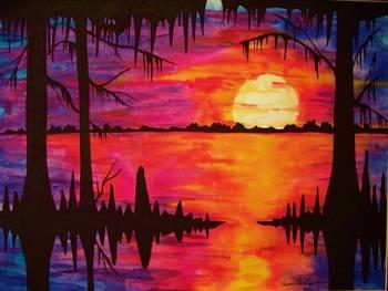Big Swamp Sunset By Elaine Adel Cummins