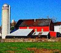 American Rural Red Barn and Silo