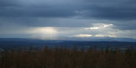 sunbeams from Tarsappie hill looking towards Glene