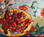 Cherries & Poppies Oil Painting by Ginette Callawa