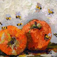 Apples and Bees Oil Painting by Ginette Callaway