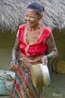 The tatooed lady, Tharu  tribal village, Nepal