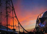 Sunset Over Roller Coaster