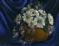 Daisies in Blue Fabric