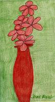 Pink Flowers in Red Vase