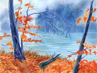 Blue Fall a digitally painted watercolour by Joan
