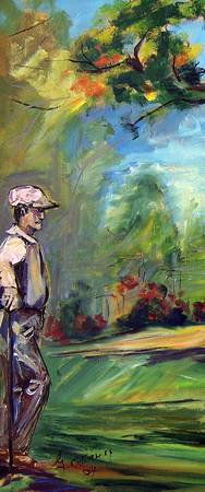 On The Golf Course #1 Oil Painting by Ginette Call