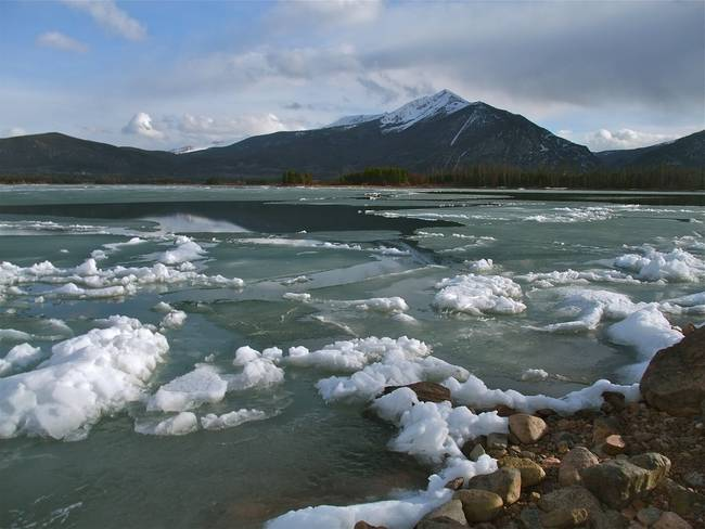 Frazil ice on Dillon Reservoir.