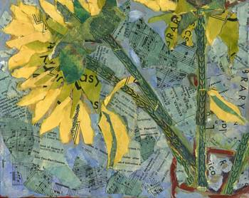 Sunflower Stems Abstract Collage Art By Miriam Schulman